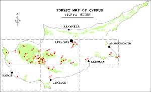 карта Кипра с оборудованными местами для пикника
