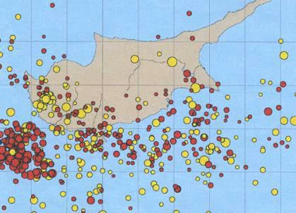 Карта эпицентров землетрясений на Кипре с 1905 по 1996 год
