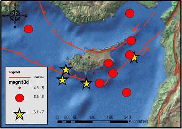 Карта эпицентров разрушительных землетрясений на Кипре с 1896 по 2000 год